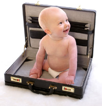 This is a cute baby in a brief case.